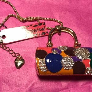 Betsey Johnson handbag necklace